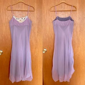 Lavender Silk Dress w/Wood Bead Detail, 10